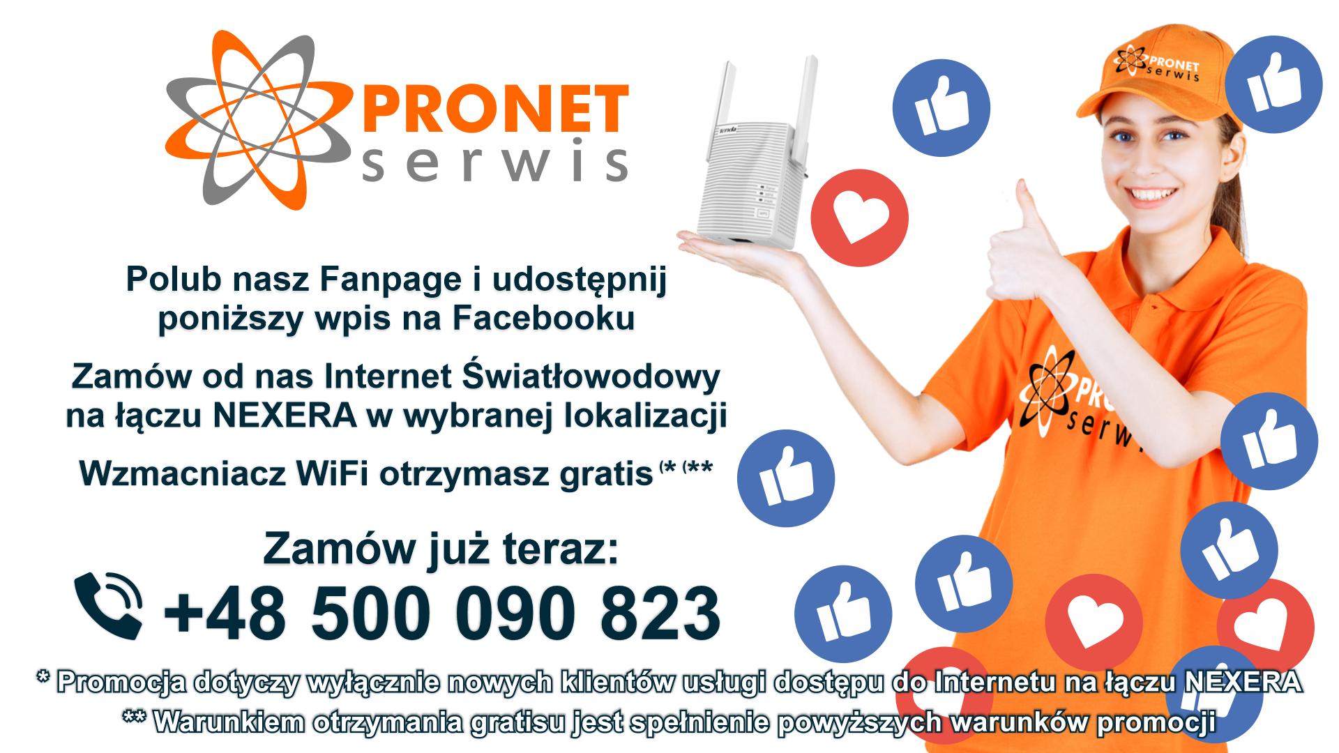 Polub nasz profil na Facebooku i odbierz wzmacniacz Wi-Fi